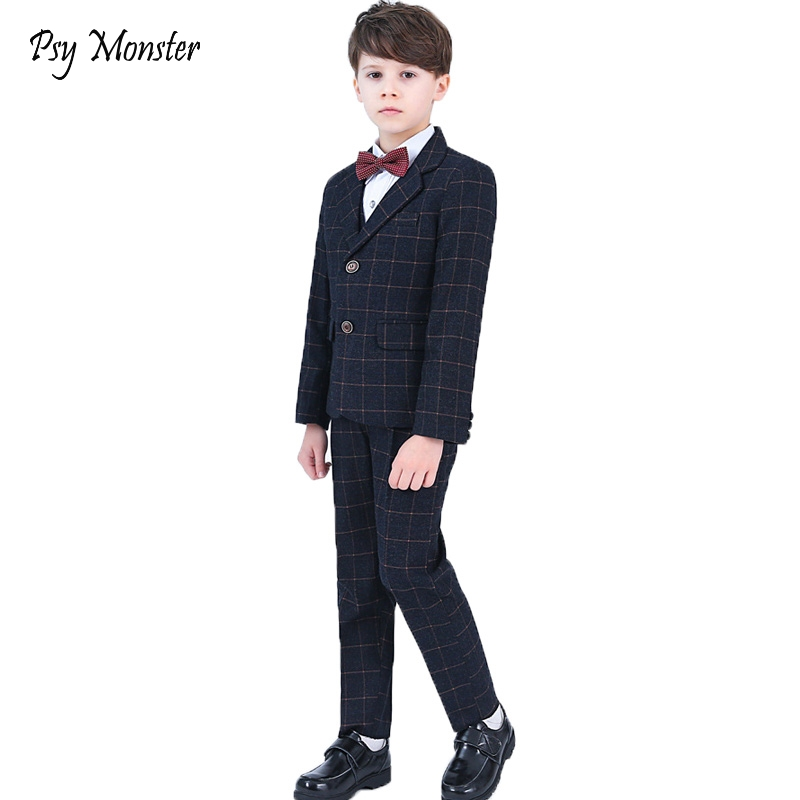 Weddings Suits For Boys Kids Prom Costume Blazers Pants Shirt Tie 4pcs Set Children tuxedos birthday party suits Clothing Sets