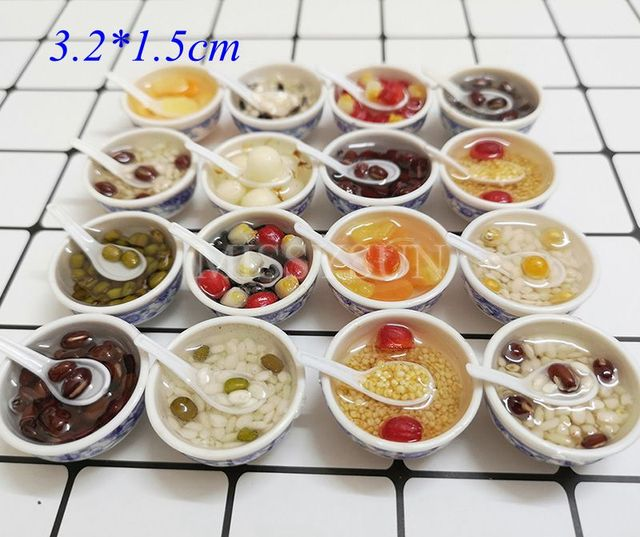 2pcs Miniature Dollhouse 1:6 scale Chinese Rice Mini Chinses Cuisine Dessert Noodles Pretend Food for1/6 Doll Kitchen toys