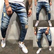 Лето Новая мода молодежные дырочные джинсы джинсы Ashion Streetwear Мужские джинсы Vintage Blue