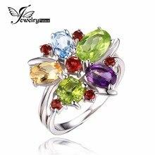 JewelryPalace Flor Multicolor 3.1ct Amatista Natural Granate Peridoto Citrino Y Topacio Azul Anillo de Cóctel Anillo de Plata 925