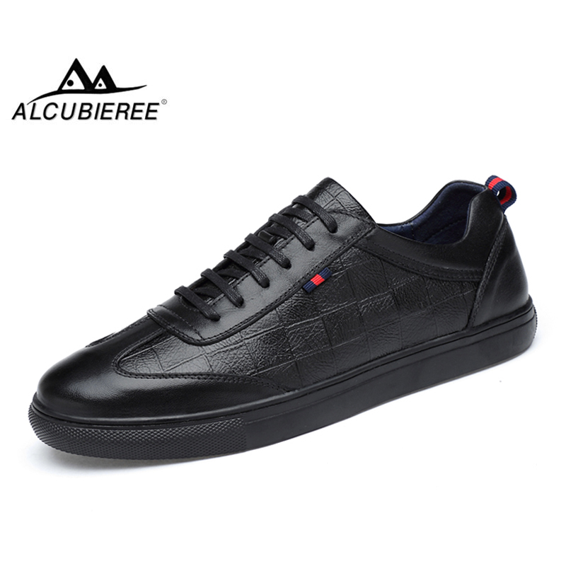 ALCUBIEREE Brand Mens Genuine Leather Sneakers Men High Quality Skateboard Shoes Men Outdoor Trainer Shoes Fashion Lace Up Shoes
