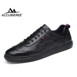 ALCUBIEREE Marca Dos Homens Genuínos Sapatilhas De Couro Dos Homens de Alta Qualidade Trainer Sapatos Da Moda Rendas Até Sapatos de Skate Homens Sapatos Ao Ar Livre
