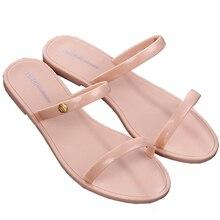 Women's Fashion PVC Jelly Shoes Elegant Open Toe Flat Sandals Summer Beach Slippers Bohemian Casual Flip-flops for Girl Female