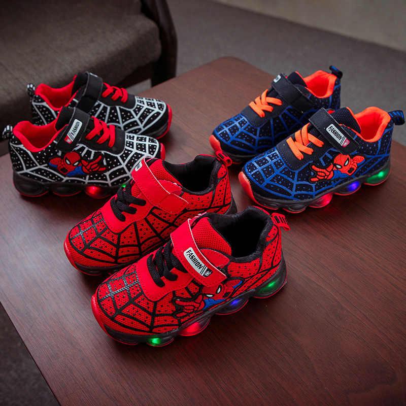EU ขนาด 21-36 Led รองเท้าเด็กผู้หญิงรองเท้าผ้าใบเด็กรองเท้าผ้าใบส่องสว่างเรืองแสง Lighted รองเท้ารองเท้าแตะการ์ตูนตะกร้า light