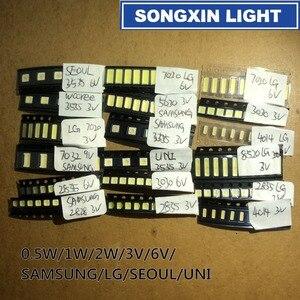 Image 1 - 1000pcs/lot 1W 2W SMD LED Kit 3V/6V 2835/3030/2828/3535/5630/7020/7030/4020/4014/7032 Cold white For TV Backlight Beads 10*100LG
