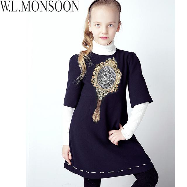 W. l. monsoon vestidos de las muchachas niños traje de invierno 2016 de la marca patrón de la princesa rapunzel dress niños espejo forgirls ropa