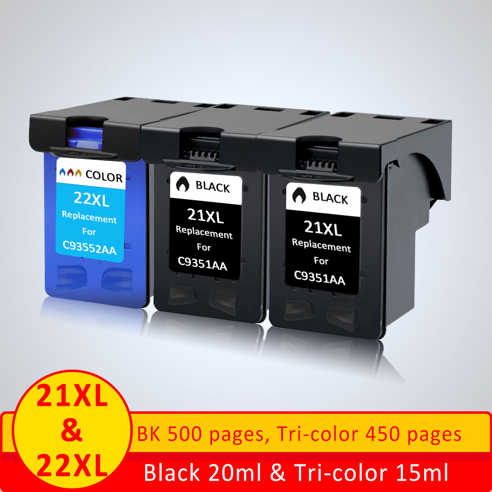 XiangYu Refill <font><b>21</b></font> <font><b>22</b></font> XL Ink <font><b>Cartridge</b></font> 21xl Replacement for <font><b>HP</b></font> <font><b>21</b></font> for hp21 ink <font><b>cartridge</b></font> 22XL F2180 F2280 3910 3915 D2320 D2345 image