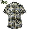 2016, лето, новый афн jeep/Battlefield Jeep клетчатую рубашку мужчина рубашка с короткими рукавами большой размер мужской быстросохнущие рубашка М 60