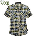 2016 summer new afs jeep / Battlefield Jeep plaid shirt male short-sleeved shirt large size men's quick-drying shirt shirt M 60