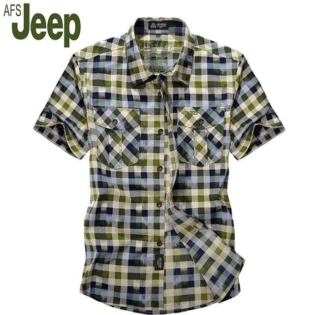 2016 verão novo afs jeep/Battlefield Jeep camisa xadrez masculino-camisa de manga curta tamanho grande camisa dos homens-secagem rápida camisa M 60