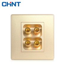 цена CHINT Electric Wall Switch Socket NEW2D Champagne Gold Large Panel Switch Four Hole Audio Socket онлайн в 2017 году