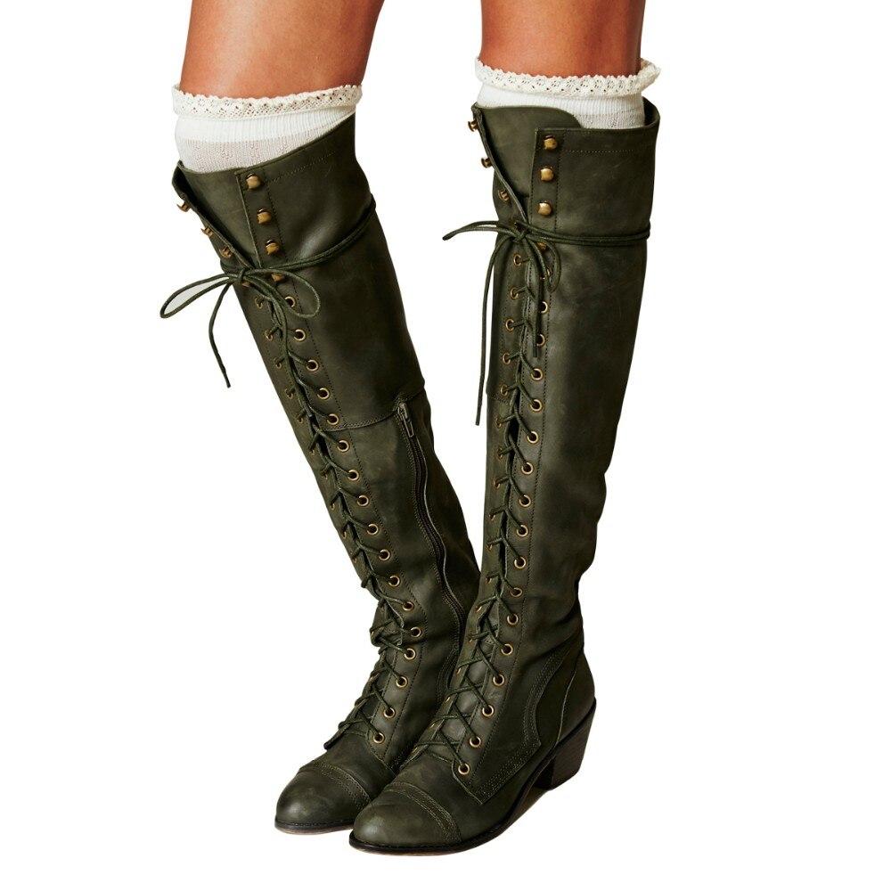 원래 의도 슈퍼 우아한 여성 무릎 높은 부츠 패션 레이스 스퀘어 발 뒤꿈치 부츠 육군 녹색 고품질 신발 여자-에서무릎 - 하이 부츠부터 신발 의  그룹 1