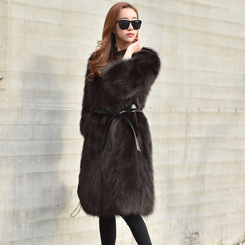 Dark Femme Manteaux Vêtements Long Automne De Vraies Femmes Veste My994 Manteau Réel black 2018 Coréen Fourrure Gray green Renard D'hiver Hiver HEDbWIY2e9