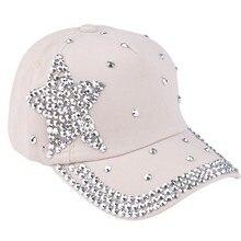 Verano Bling diamante Denim Caps cinco puntos estrellas casquillo del sol  gorra de béisbol Rhinestone ajustable dc1d612626c