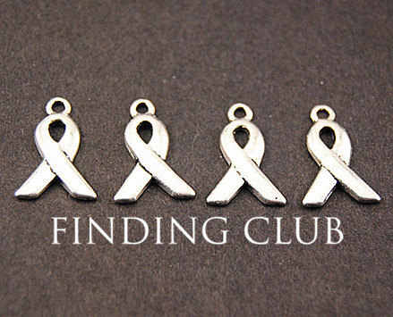 50 pcs Silver tone Awareness Ribbons Charm DIY Metal Bracelet Necklace Jewelry Findings A820