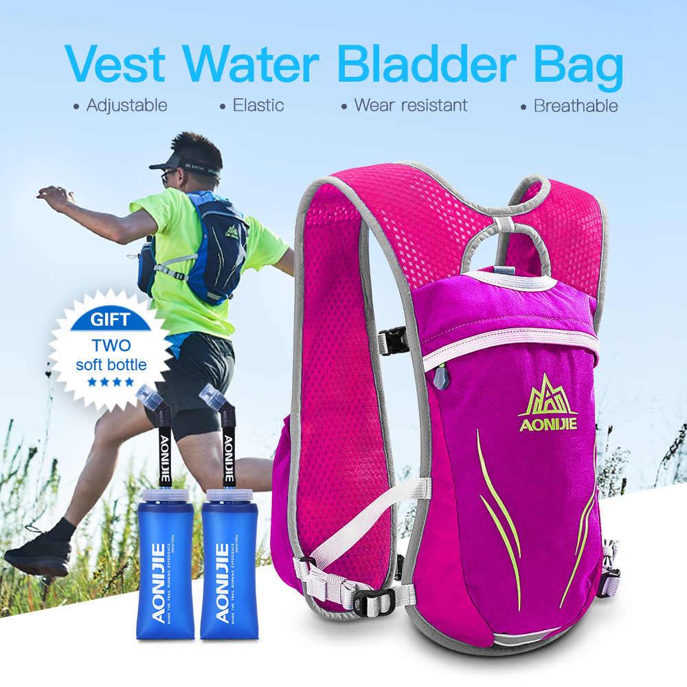 Bolsas de gimnasio AONIJIE, paquete de hidratación, chaleco para correr, bolsa de vejiga de agua con remolque, botella de agua suave sin BPA para deportes, correr