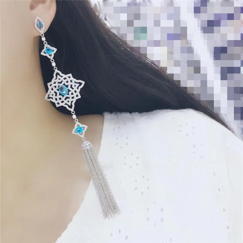 Fashion AAA cubic zirconia long tassel drop earring ,womens accessaries,beautiful top quality 16cm long,E7547