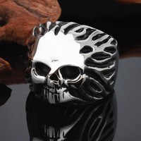 Fashion Mens Jewelry Wholesale Retail 316L Stainless Steel Silver Black Skull Biker Ring US Size 8
