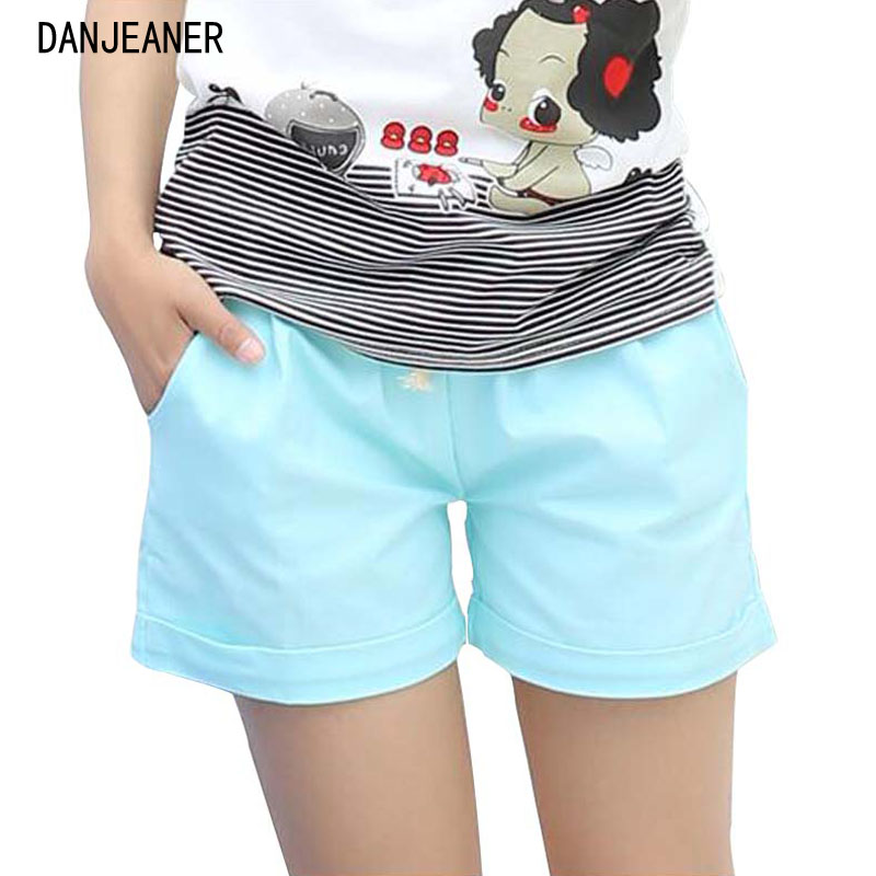 Danjeaner 2017 Summer Casual Loose Cotton High Waist   Shorts   Youth Solid Slim Drawstring Elastic Waist   Shorts   Women   Shorts   Mujer