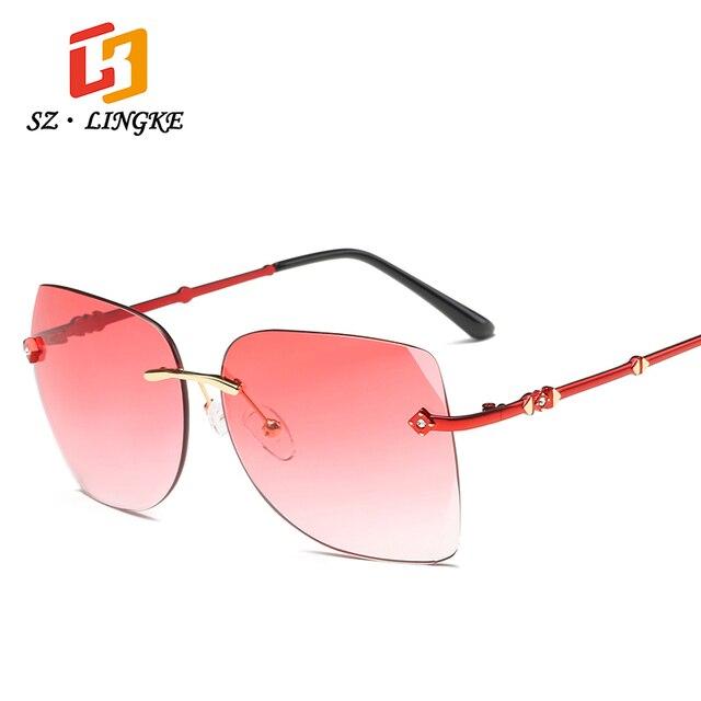 SZLINGKE gafas de Sol Mujer Gafas Sin Marco Sin Montura gafas de Sol ...