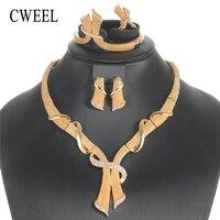 CWEEL Costume Jewelry Sets Luxury Women Turkish Jewelry Geometric African Jewellery Set Nigerian Wedding Indian Jewelry Set