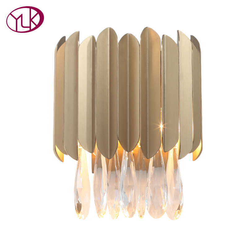 Youlaike Gold Wall Lamp For Home Luxury Stainless Steel Wall Sconces Lighting Fixture AC90 260V Wall Crystal Light-in LED Indoor Wall Lamps from Lights & Lighting    1