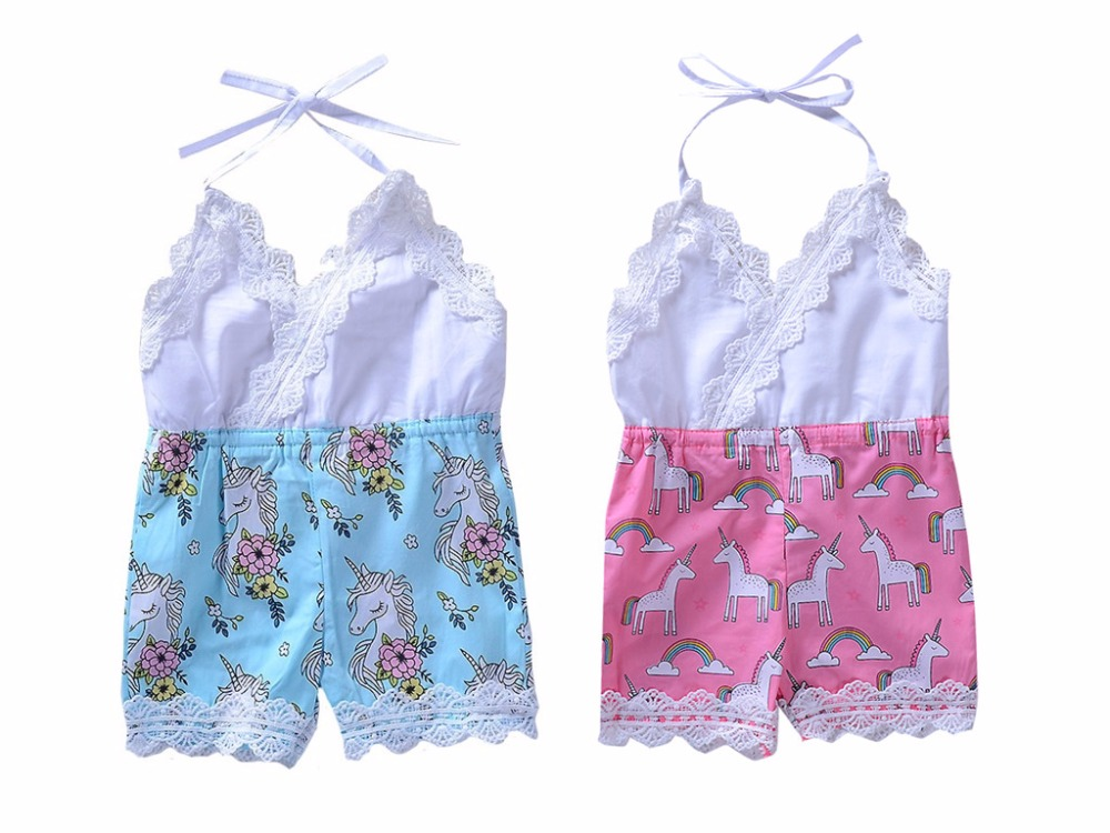 0ef3d8cb0ae Newborn Baby Clothes Lace Suspender Belt Romper Cartoon Print Rainbow Jumpsuit  Bebe Sleeveless Clothes-in Rompers from Mother   Kids on Aliexpress.com ...