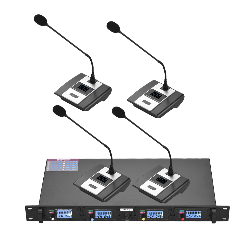 Muslady D2 Professional 4 Channel UHF Wireless Conference Microphone System 6 35mm XLR Outputs Dual Antenna
