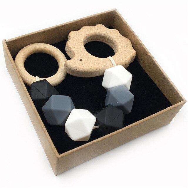 Juguetes De mordedor de madera para bebé zorro erizo elefante pájaro ganchillo diseño cuentas de dentición juguetes para niños pulsera de dentición cadena