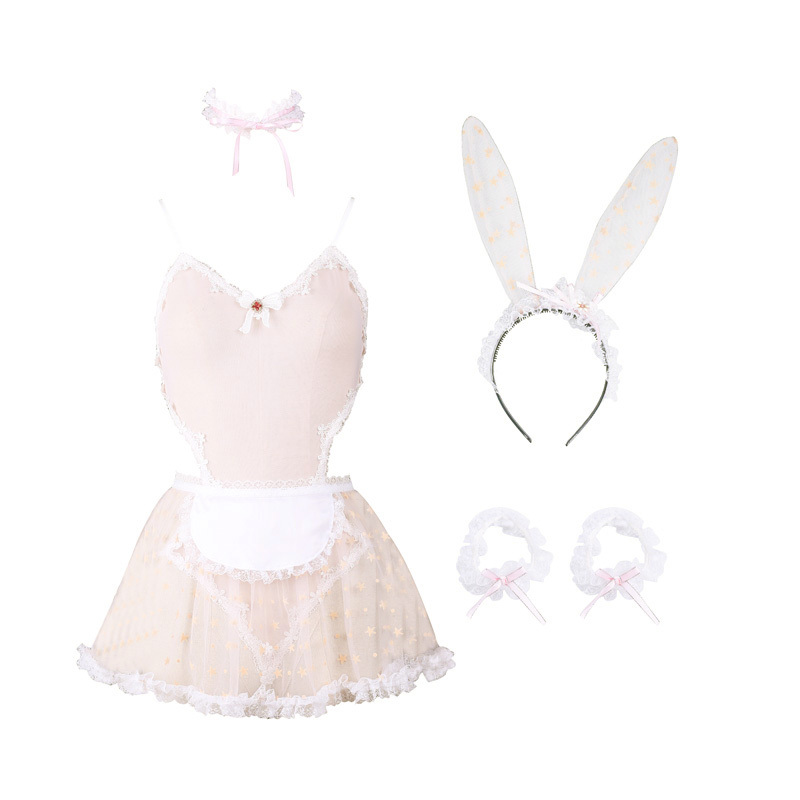 Image 2 - Cute Print Lace Women Rabbit Bunny Maid Cosplay Costume Party Sexy Erotic Lingerie Outfit Fancy live Show Jumpsuit Babydoll-in Lingerie Sets from Novelty & Special Use