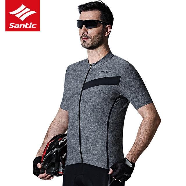 Santic Summer Men's Cycling Jersey Breathable Short Sleeve Bicycle Bike Jersey Shirt Sport Wear SANTIC N-FEEL High Tech Fabric