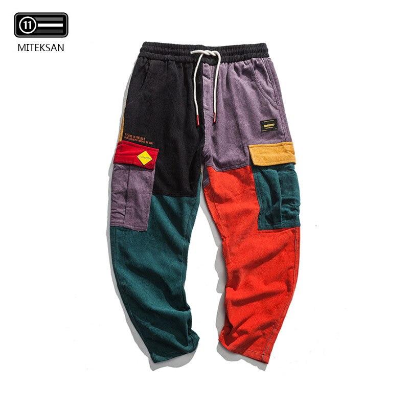 2019 New Men Hip Hop Sweatpants Joggers Pants Trousers Men Elastic Waist Cargo Pants Korean Style Fashion Male Corduroy Pants