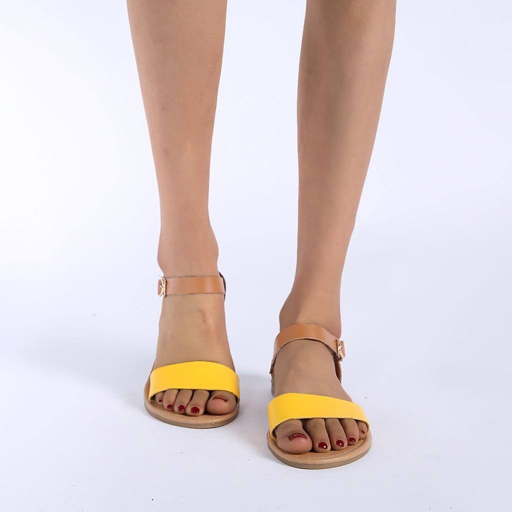 HTB1 ZNlQzDpK1RjSZFrq6y78VXaT SAGACE Women's Sandals Solid Color PU Leather Sandals Women Fashion Style Flat Summer Women Shoes Women Shoes 2019 Sandals 41018
