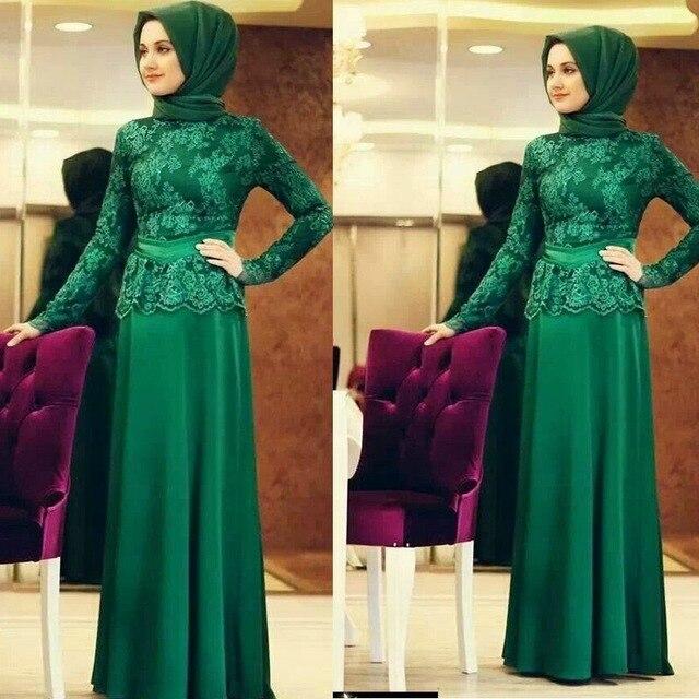 New Green Long Sleeve Muslim Evening Dresses 2017 Hijab Islamic Abaya Kaftan High Neck Straight Lace