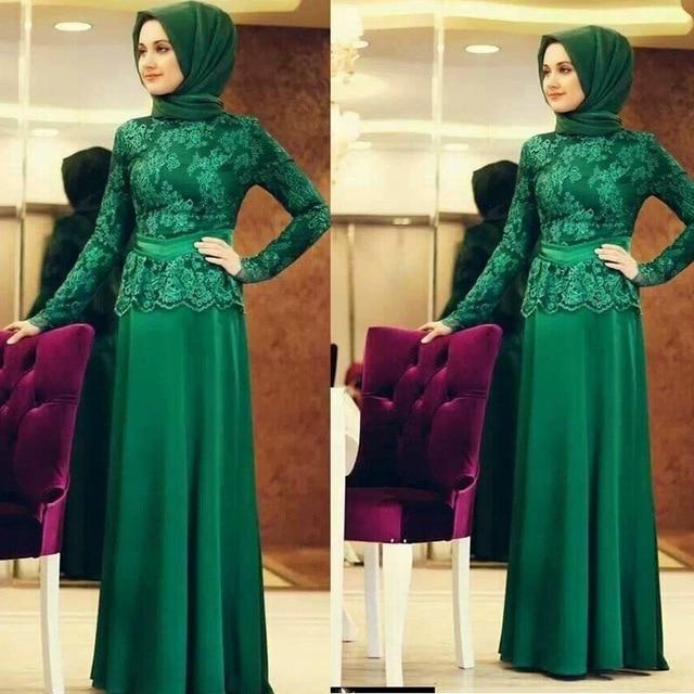 New Green Long Sleeve Muslim Evening Dresses 2017 Hijab Islamic Abaya Kaftan High Neck Straight Lace Evening Gown Prom Dresses-in Evening Dresses from Weddings & Events    1