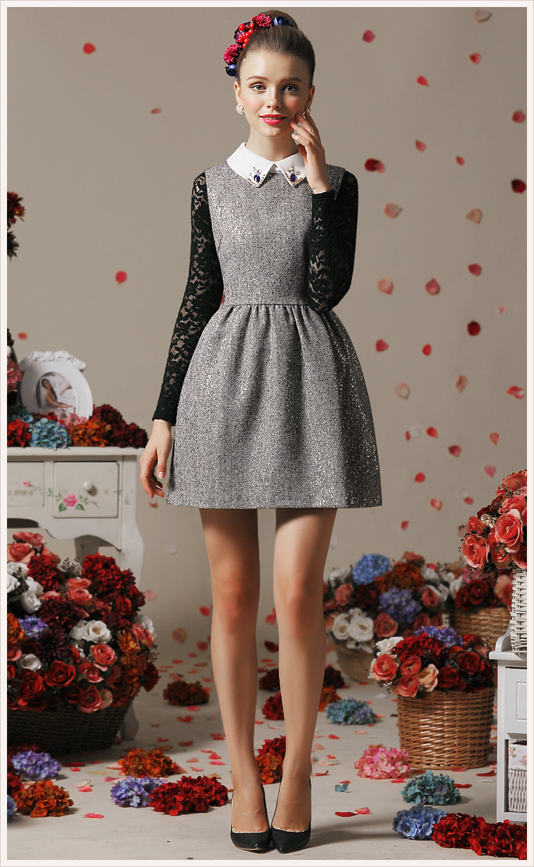 9410ae9b152e Women new fashion Grey vintage Sleeveless Sequined A Line Sundress ...