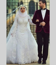 2016 Fashion Arab Hijab Saudi Arabia Muslim Wedding Dresses Long Sleeve White Lace Sexy Beads Mermaid