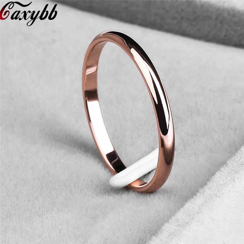 Dropshipping Titanium Steel Rose Gold Anti-allergy Smooth Simple Wedding Couples Rings Bijouterie for Man or Woman Gift