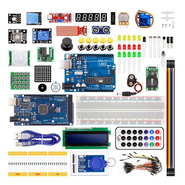 Diy starter kit para arduino uno r3/mega 2560/servo/1602 lcd/jumper wire/HC 04/sr501 com caixa de varejo
