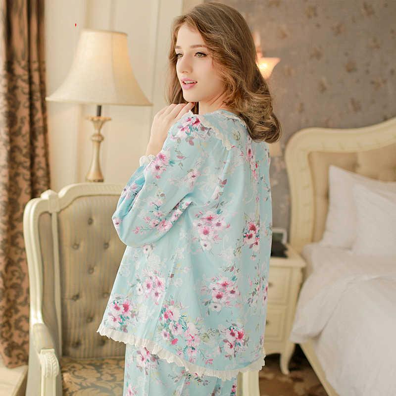 ฤดูใบไม้ร่วงลำลองผ้าฝ้าย100%แขนยาวชุดนอนสตรีหญิงPyjama