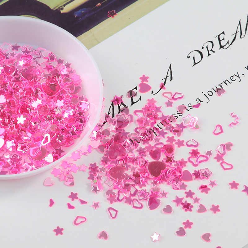 10 г/лот кристалл ногтей пайетки Смешанная Звезда Сердце сливы хлопья пайетками для ногтей маникюр, Свадебный декор конфетти