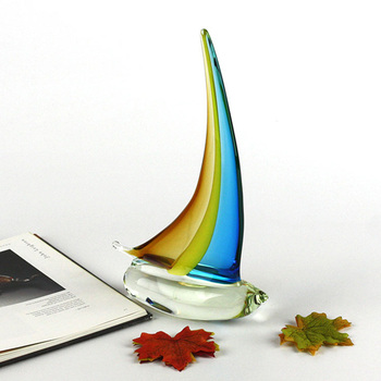 New design Coloured glaze sailing tabletop Miniatures  Terrariums glass Crafts Figurines For Home wedding Decoration