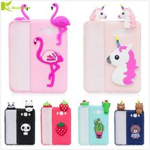KL-Boutiques 3D Unicorn Cartoon Case For Samsung Galaxy J7 2016 J710 Fundas Fruits Cactus Flamingo Toys Soft Silicon Phone Cover