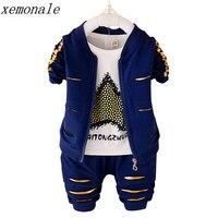 Children Boys Girls Garment Clothes 2017 Autumn Kids Jacket And T Shirt And Pants 3 Pcs