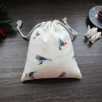 Птица чернила льняной мешочек подарочный 10x10 см 10x12 см 11x14 см 14x17 см Упаковка из 50 на день рождения Рождество пользу сумка