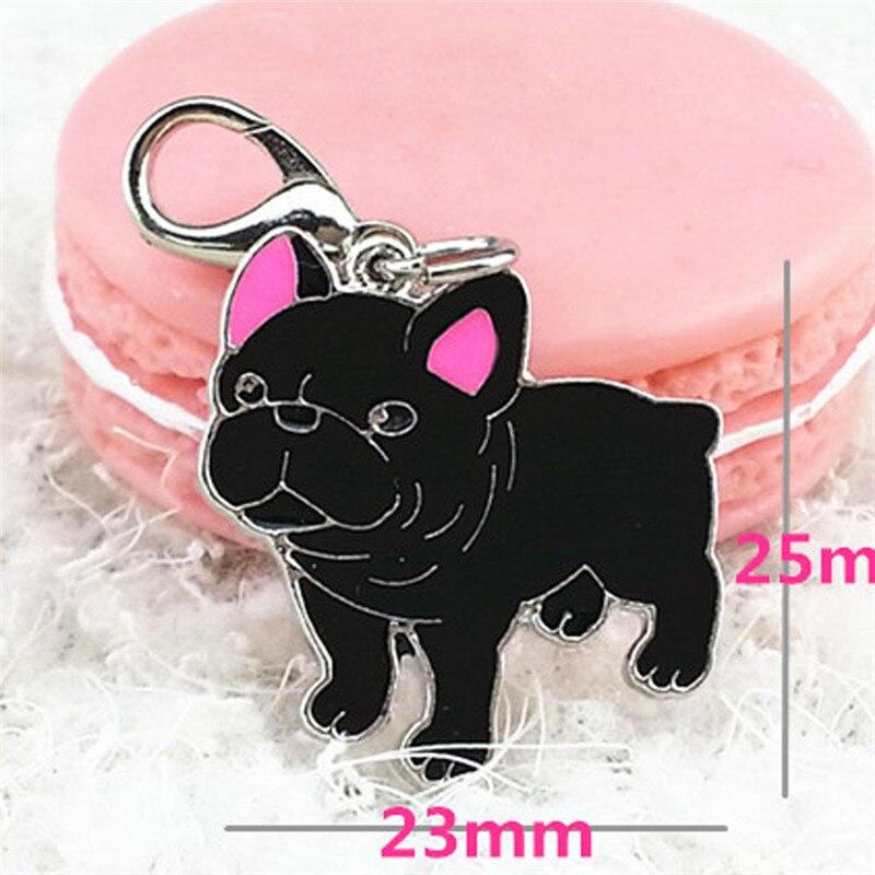 Mini black bulldog pet cat dog pendant tags jewelry alloy Dog Tag Disc Disk ID Enamel Accessories Collar Necklace Pendant 2016