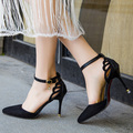 Plus Size Summer Style Women Shoes Ankle Strap Pumps butterfly Cut-Outs Woman Dress Shoes Pointed Toe High Heels Pump CY2152