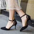 Plus Size Verão Estilo Mulheres Sapatos com Tira No Tornozelo Bombas borboleta Cut-Outs Vestido Da Mulher Sapatos Dedo Apontado sapatos de Salto Alto bomba CY2152