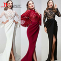 New Arrival 2017 Best Selling High Neck Black Lace Puffy Princess Sleeves Slit Burgundy Ivory Formal Arabic Evening Prom Dresses