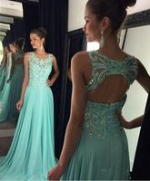 Fashion Chiffon Scoop Neck A Line Open Back Prom Dresses 2019 Floor Length Zipper Beading Sequined Prom Dresses  HFY122804
